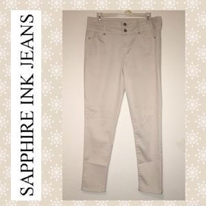 Sapphire Ink Cream Colored Skinny Jeans